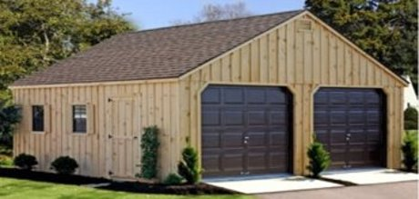 A wood two car prefab garage
